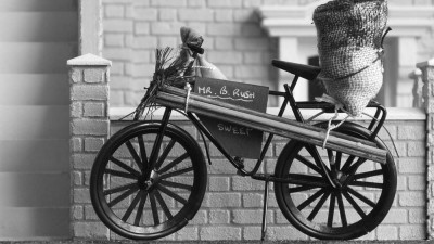 model of a chimney sweep's bicycle